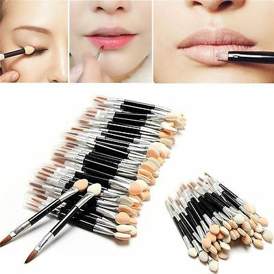 20Pcs Double-Ended Sponge  Sticks Eyeshadow Lip Brushes Eyeliner Applicator
