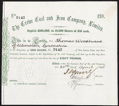 Crewe Coal and Iron Co. Ltd., £10 share, 1868