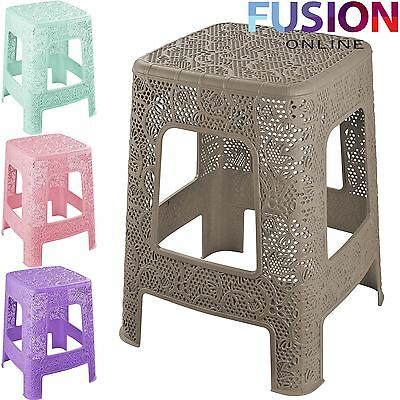 Plastic Rattan Step Stool Indoor Outdoor Home Kitchen Garden Chair Multi Purpose
