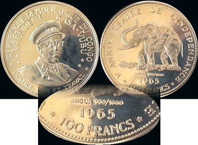 1965 CONGO Gold 5-piece Anniversary Proof Set with TYPE 2 - 100 Francs