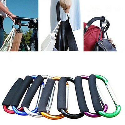 Pram Pushchair Shopping Bag Hook Carabiner Large D Ring Buggy Mummy Clip