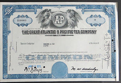 Historische Aktie USA 1970 The Great Atlantic & Pacific Tea Company 50 Shares