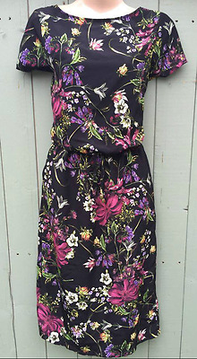 New Womens Vintage Style Black Floral Tie Waist Summer Tea Dress Size 8