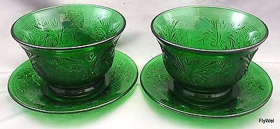 Anchor Hocking Sandwich Custard Cups and Liners Forest Green Set of 2