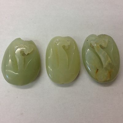 3 Vintage Chinese Carved Jade  Beads Or Pendants 3cm