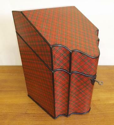 Georgian Mauchline Tartan Ware 'Royal Stuart' Stationery Box.  1800-1820's