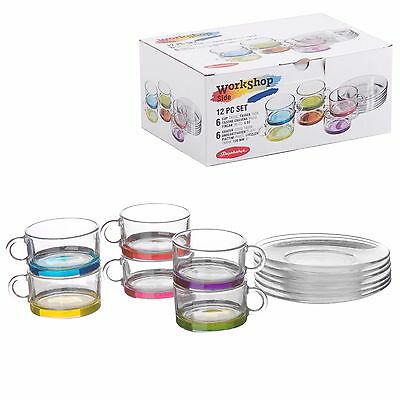 Pasabahce 12 Pc Set Coloured Glass Tea Cups And Saucers Coffee 90 Ml