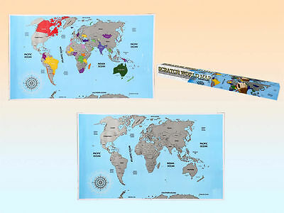 LARGE SCRATCH OFF WORLD MAP POSTER PERSONALISED TRAVEL GIFT BOXED 88X52cm