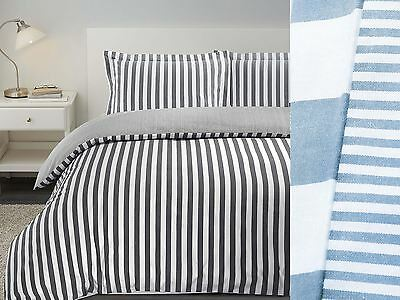 100% Combed Cotton Duvet Cover Set Bedding Cosy Winter Stripe Yarn Dyed T200