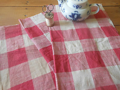 Antique 19thc French Vichy Plaid Check Cotton Fabric ~ Raspberry Pink ~ 3 pc's
