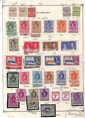 SWAZILAND  1933 to 48 EARLY STAMPS ON 2 PAGES MH/USED Cat.$220