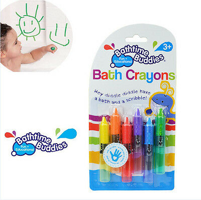 6pcs/set Bathtime Kids Baby Bath Crayons Fun Toys Non Toxic Crayoning Pen