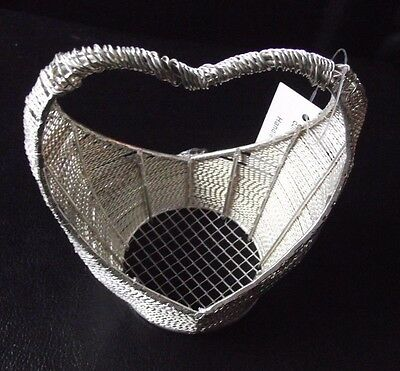 Heart Shaped Woven Silver Coloured White Metal Wire Basket Bag