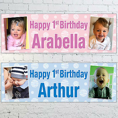 Personalised 1st Birthday PHOTO Banner 3ft x 1ft Blue Pink Boys Girls