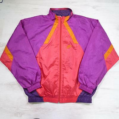 Mens NIKE Vintage Just Do It Pink Shell Suit Tracksuit Top Jacket Medium #E2126
