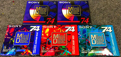 5-SONY MDW-74 Recordable MiniDisc 74 Minutes Record Mini Disc Factory Sealed  A6