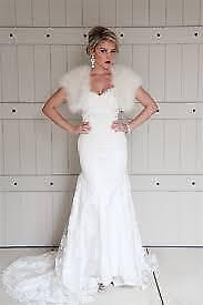 Feather Fur Bolero Shrug Wrap Bridal Wedding Prom White Ivory Black Ostrich