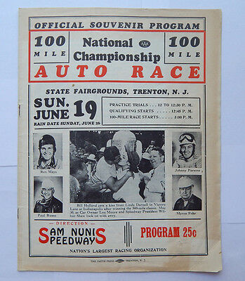 100-Mile National Championship Auto Race Sam Nunis Speedway Program (1949)
