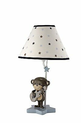 Durable Boys Nursery Monkey Playing Guitar Lamp And Shade With Stars Brown/Blue