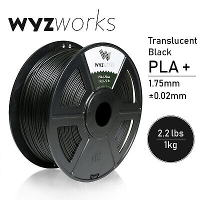WYZwork 3D Printer Premium PLA Filament 1.75mm 1kg/2.2lb - Translucent Black