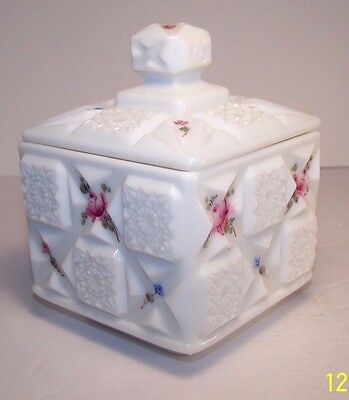 """Vintage Westmoreland Glass Co. square box w/lid """"Old Quilt"""" Line 500."""