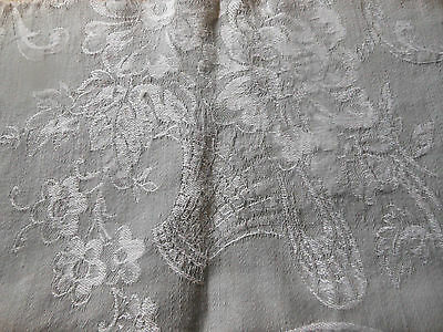 Vintage French Gray Basket Floral Cotton Ticking Damask Fabric ~