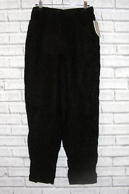 Size 10-12 vintage 80s deadstock high waist tapered leg trousers black (HX59)