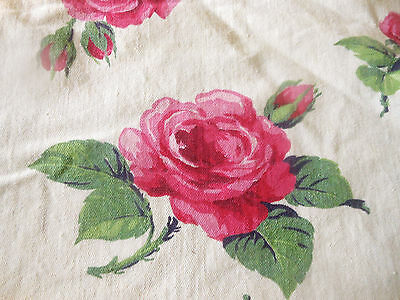 Antique Vintage Large Cottage Roses Cotton Fabric ~ Strawberry Pink on Yellow