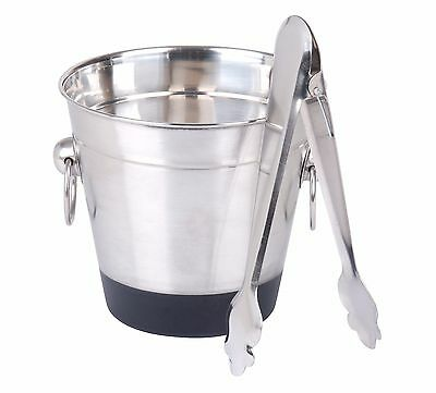 Ice Cube Bucket With Tongs Stainless Steel Champagne Wine Party Bar Cooler