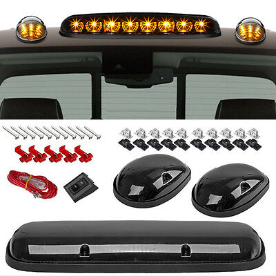 3PCS Clear Cab Roof Top Marker Lamps Amber LED For 02-07 Chevy Silverado/GMC