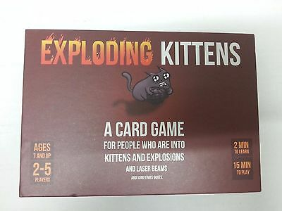 Exploding Kittens Card Game Kitten Family Friends Child Fun Games Red