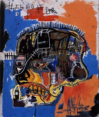 """Jean Michel Basquiat """"Scull"""" Oil Painting Modern on Canvas large Wall Picture"""