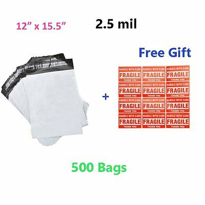 500 12x15.5 2.5 Mil Poly Mailers Shipping Envelopes Plastic Self Sealing Bags