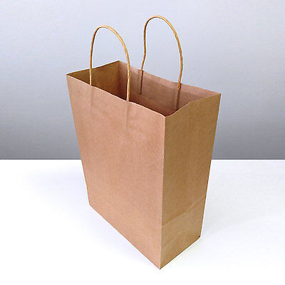 Brown Kraft Paper Carrier Recyclable Bag with Twisted Gold Handle Gift Party