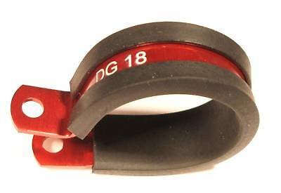 Red Anodised Rubber Lined Fuel Filter P Clip / Clamp