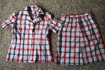 Vintage Handmade Two Piece Plaid Skirt and Button Down Short Sleeve Blouse Set L