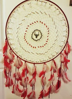 """27"""" Red Dreamcatcher With Owl Pendant"""