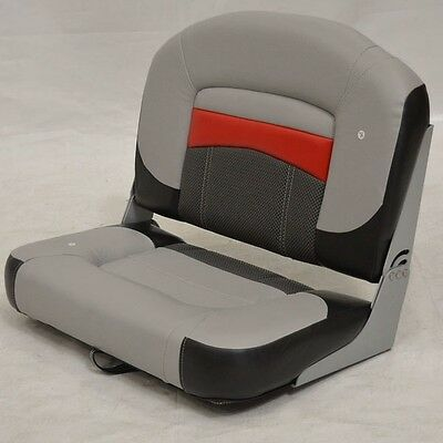 Tracker Marine Boat Folding Bench Seat Gray Red Black