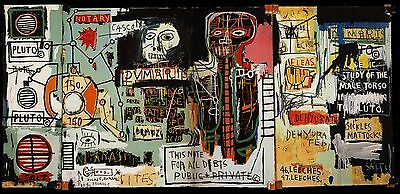 """Jean Michel Basquiat """"Notary"""" Oil Painting Modern on Canvas large Wall Picture"""