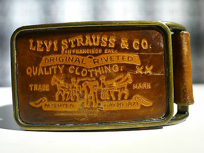 Rare Levis Strauss Leather XX Patch Buckle and Belt sz 30 VINTAGE 60s 70s USA