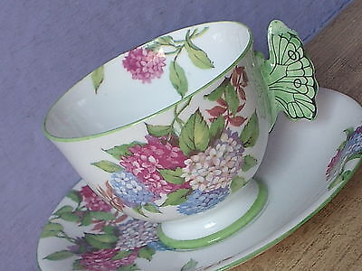 Antique 1930's Aynsley bone china hydrangea butterfly handle tea cup teacup