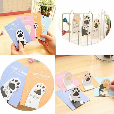 2 PCS Cat's Paw Shape Cute Memo Pad Sticky Notes Paster Stickers