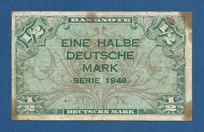 GERMANY - FEDERAL REPUBLIC -- 1/2 DEUTSCHE MARK ( 1948 ) -- BC // F -- PICK 1a