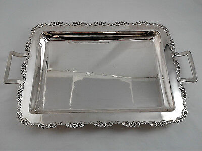 "heavy Serving Tray with handles - 17.5 "" x 10.5 "" - Silver .800 - 1142 grams"