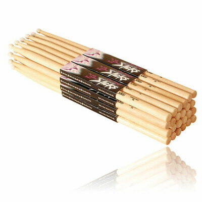 NEW On Stage Hickory  Drum Sticks 5B With Wooden Tip 12 Pairs