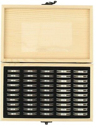Wood Coins Display Storage Box for Slab Certified Coin With 50Pcs Capsules