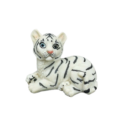 "Small White Tiger Figurine 2.5"" Tall Wild Cat Collectible Statue B"