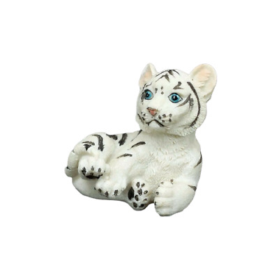 "Small White Tiger Figurine 2.5"" Tall Wild Cat Collectible Statue D"