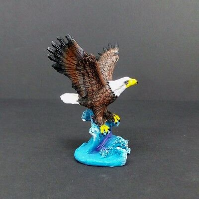 "Small Bald Eagle in the Water Figurine 4"" Tall Collectible Bird Statue C"