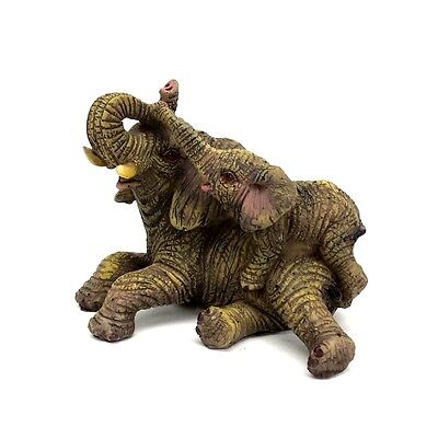 "Small Elephant With Baby Statue Lucky Elephant Figurine Collectible 3"" Tall B"